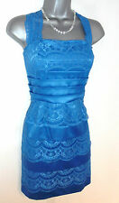Topshop Blue Tiered Lace Bodycon Evening Occasion Summer Dress Size 8