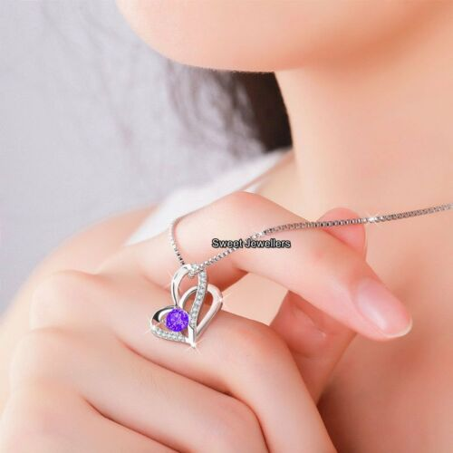 Amethyst Purple Crystal Heart Necklace Silver Birthday Xmas Gifts For Her Women