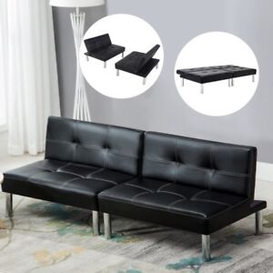 Image Is Loading Folding Leather Convertible Couch Futon Sofa Bed Sleeper