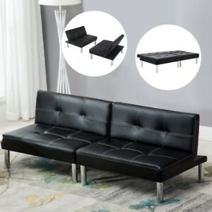 Details about Sleeper Sofa Bed Convertible Leather Couch Adjustable Living  Room Futon Black