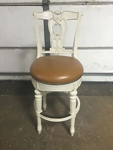 Super Details About Frontgate Promenade Leather Barstool Counter Height 31 Stool Bar Chair White Machost Co Dining Chair Design Ideas Machostcouk