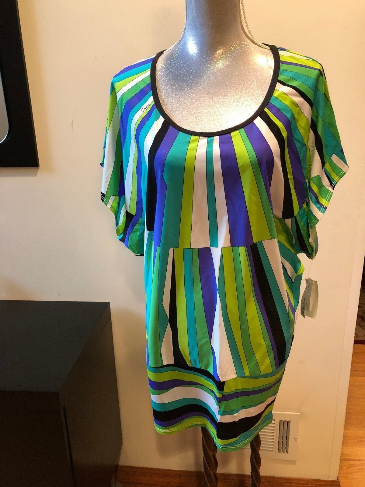 NEW TRINA TURK MULTI COLOR BEACH DRESS SWIM SPA COLLECTION  SIZE M COVER UP