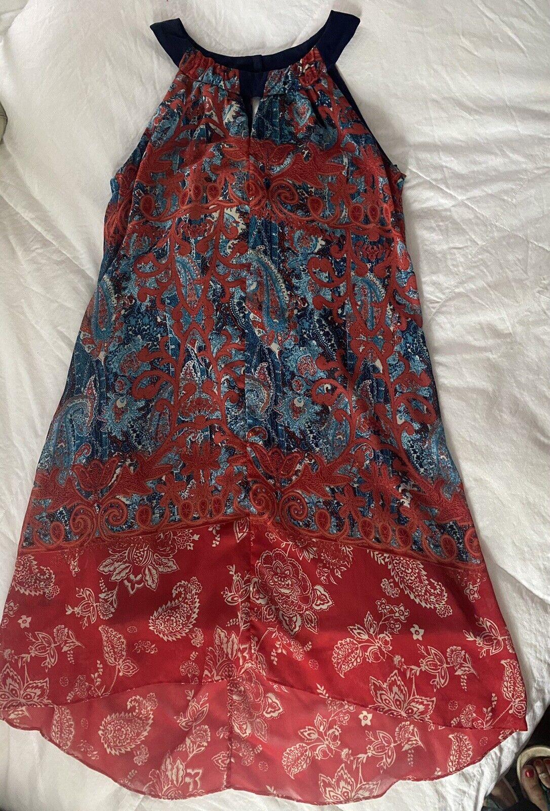 Cb Established 1962 Dress Sz 10 Red & Blue Sheer … - image 4