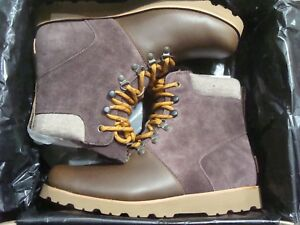 161b4590603 Details about Men's UGG Halfdan Brown Leather Lace Up Ankle Boots 1017286  M/GRZ Size 8~13