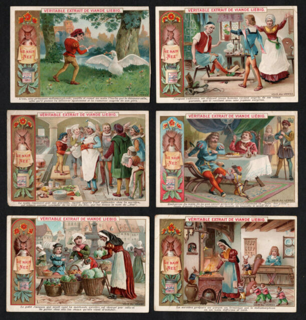 The Dwarf Nose Fairy Tale Vintage Card Set Liebig 1894 Red Squirrel Goose