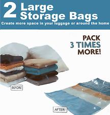 2 x LARGE SPACE SAVING STORAGE BAGS VACCUM VAC PACK SPACEBAGS vacum EZ-VAC