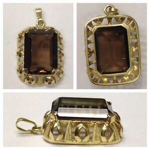 Pendentif-585er-or-avec-quartz-fume-Pendentif-en-Or-Bijou-en-or