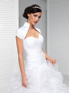 Brautbolero-Schulterjacke-Weiss-Ivory-kurzarm-Hochzeit-Wedding-Bridal-Satin-71