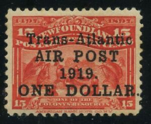 Newfoundland-1919-Alcock-amp-Brown-1-00-on-15c-scarlet-C2a-VF-mlh