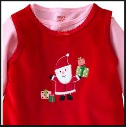 Carters 3 Piece Set Jumper Dress Bodysuit Leggings 3M 3 M NWT Santa Holidays Red