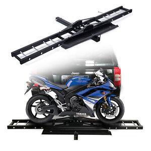 Trailer Hitch Motorcycle Carrier >> Details About Motorcycle Scooter Dirtbike Carrier Hauler Hitch Mount Rack Ramp Anti Tilt Idu