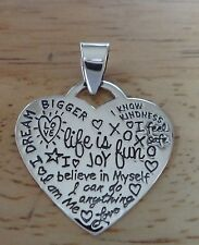 Sterling Silver 4g Heart says Joy Life is Fun I feel Safe Dream Love Life Charm