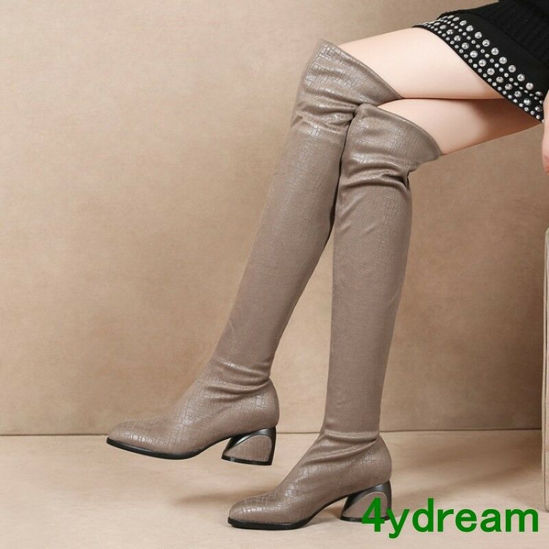Womens Over The Knee High Slim Boots Pull On Night Club 2018 New shoes Khaki SZ