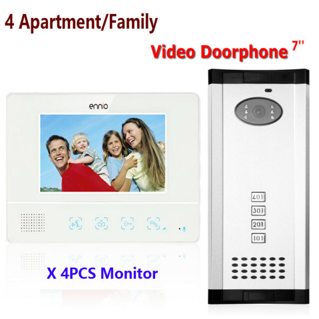 Apartment 4 Unit Intercom Entry System Wired Video Door Phone Audio