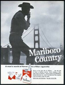 1963 Marlboro Man Cigarette San Francisco Golden Gate Bridge Photo Vintage Ad Ebay