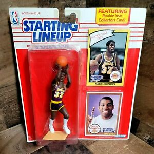1990 Starting Lineup Los Angeles Lakers Magic Johnson Figurine with Cards Intact
