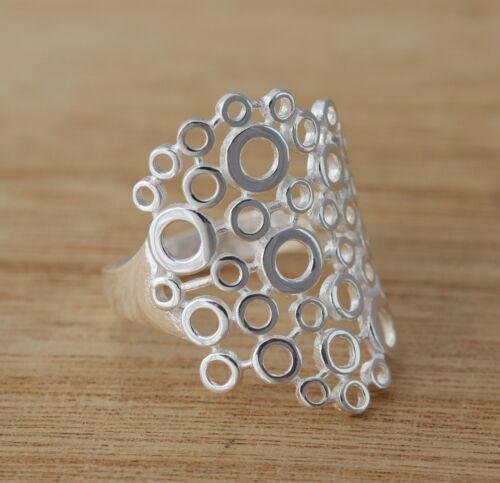 Sólido 925 plata esterlina círculos Burbujas Diseño Banda Ancha Liso Anillo Joyería