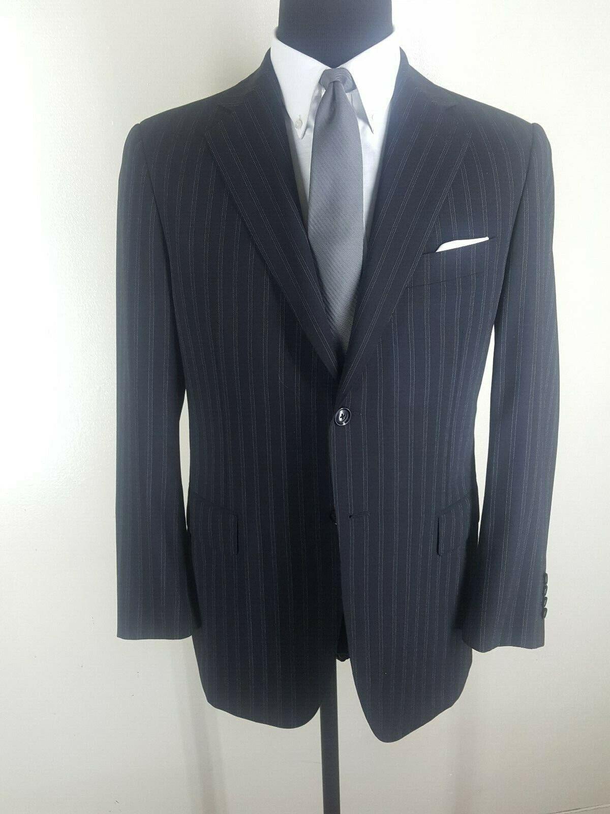 PAL ZILERI Bespoke Vintage 100% Wool  Suit 2 Btn  No Vents 40 R--Fit 40-42 Reg