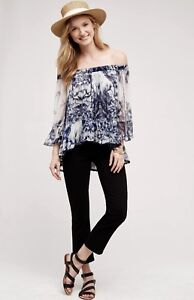 17a30e86507d5 Image is loading NEW-Anthropologie-blue-white-Chiffon-Off-The-Shoulder-