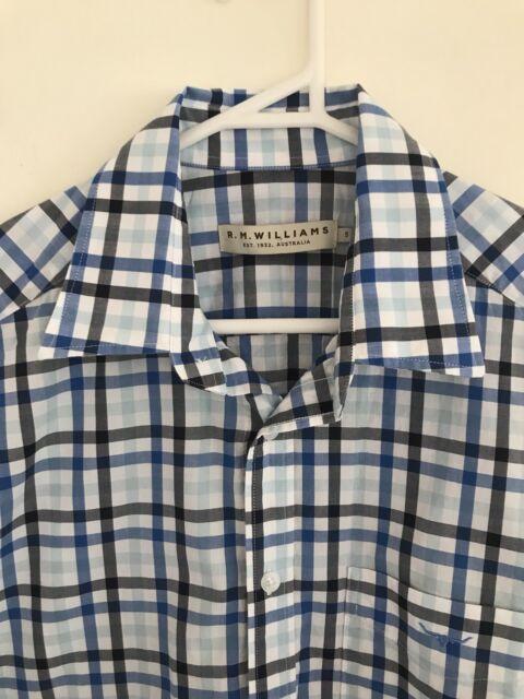 🌟 R.M. WILLIAMS MENS Blue White Check Plaid Shirt Multicolour Sz S