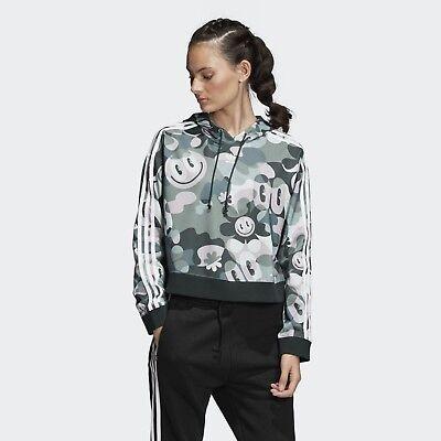 ADIDAS Originals Women/'s Hoodie Double Zip Cropped Contrast Stitching Logo BNWT