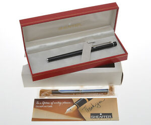Sheaffer-Targa-stilo-nera-1002s-black-slim-size-fountain-pen-new-pristine-in-box