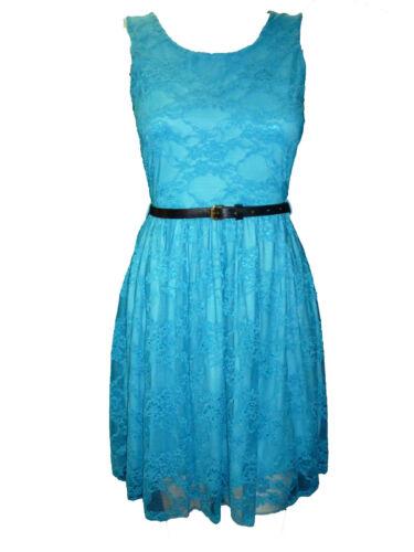 Donna NUOVI Moda Cintura in Pizzo Skater tutti i colori MAIUSC Prom Dress Top