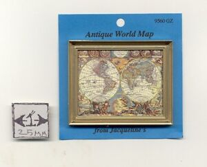 image is loading painting print antique world map dollhouse miniature 1