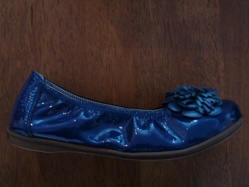 Dolly Patent Bellamy With Ballerina Detail Flower Shoes Blue Flat Bnib vwaHI