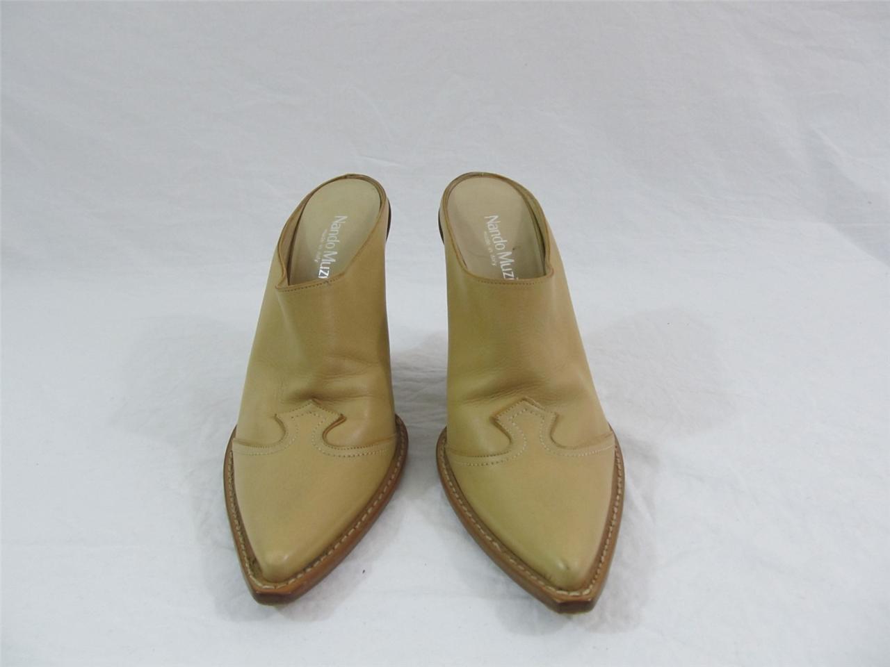 Nando Muzi Women's Back Open Back Women's Boots Heels Shoes Size 8 US, 38 EURO Retail $700 97e951