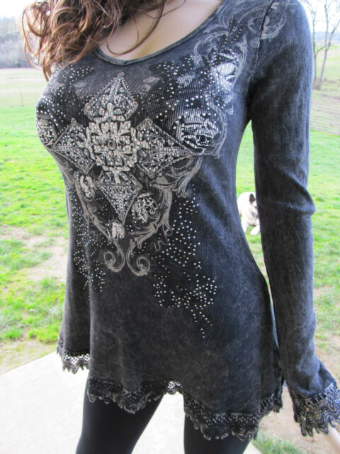 Vocal Mineral Wash Crochet Hem Crystals Tunic Shirt Bling Rodeo Sexy S