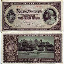 Un billet de banque HONGRIE circulé USAGE  100  Pengo 1945 WW2   Pick111