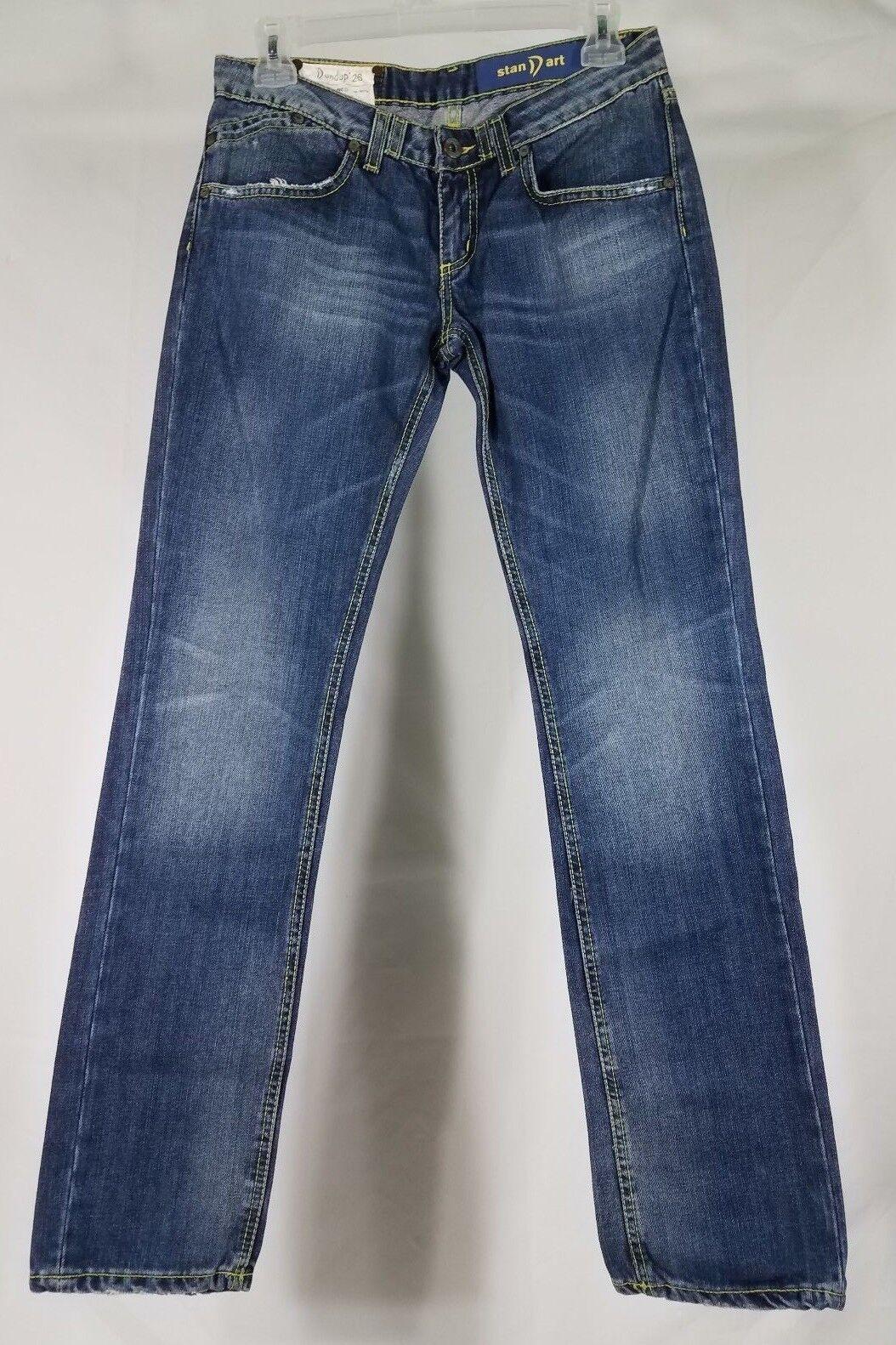 Dondup Standart distressed straight slim cotton denim bluee jeans ladies 26
