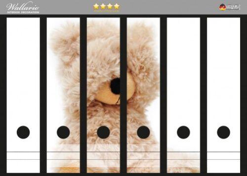 Wallario Ordnerrücken selbstklebend für 6 breite Ordner Süßer Teddybär Teddy