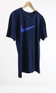 Nike-Men-039-s-Blue-Short-Sleeve-Swoosh-Big-Logo-Front-T-Shirt-In-Blue-UK-SIZE-BLUE
