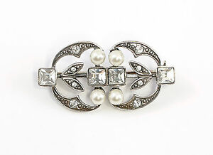 5848209d22e11 925 Silver Art Nouveau Brooch with Swarovski-stones synth. Pearls ...