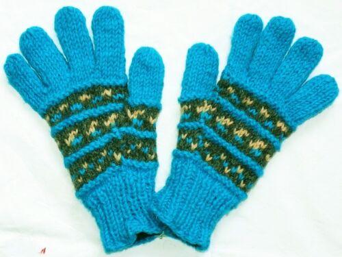 M türkis rot Regenbogen 100/% Wolle S Gr Fleece Futter Handschuhe Schafwolle