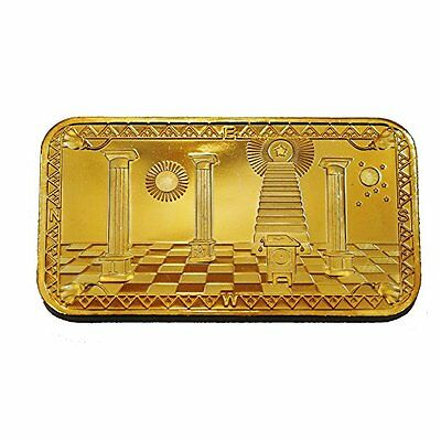 BEAUTIFUL 1 OZ 24KT GOLD PLATED MASONS BAR FREEMASONRY MASONIC BAR +++