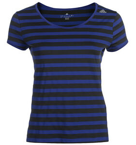 Fitness shirt Nouveau Gym Ladies Blue Stripe Adidas Womens T ClimaNoir xthBsdoQrC