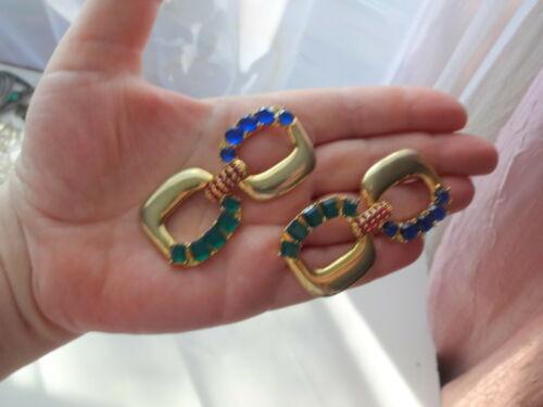 Vtg Arnold Scaasi Couture Color Crystal Big Dangl… - image 1