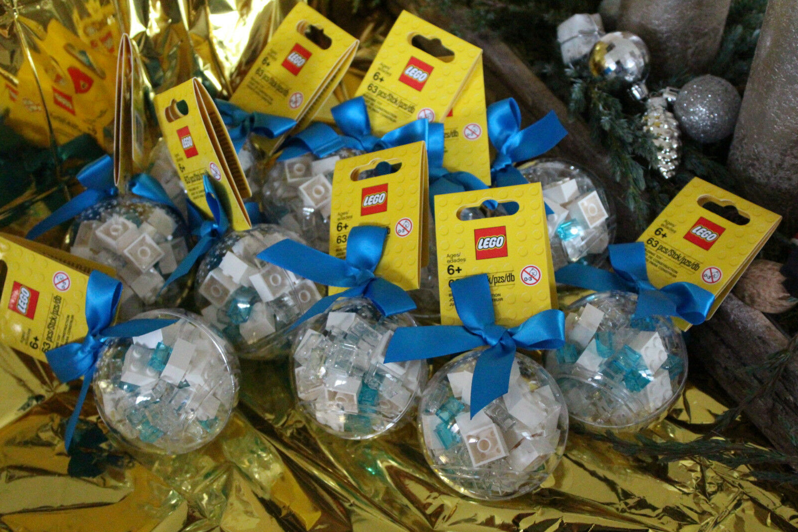 10x Lego 851358 Christmas Tree Ball Christmas Bauble blanc-bleu Transparent nouveau & OVP