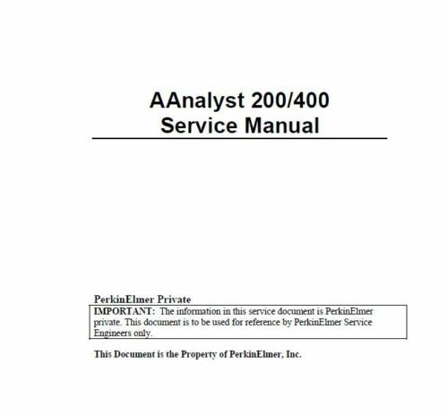 Perkin Elmer   AAnalyst  400     Service Manual and support files