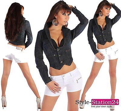 D52 Sexy Damen Jeans Jacke Blazer Jeansjacke Dunkelblau Tailliert S 36 - XL 42