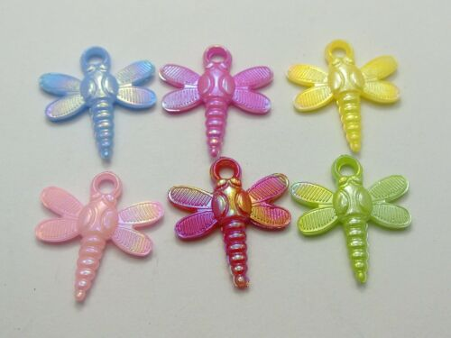 100 Mixed Color Plastic Dragonfly Charms Pendants 24X22mm