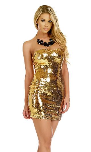 Forplay Clubwear Elena Metallic gold Sequin Strapless Mini Dress