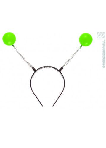 Bauble Testa Bopper antenna alieno Orecchie Fascia Per Capelli Wobble Bug Verde UFO