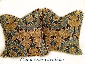 Custom Designer Decorative Pillows Tapestry Chenille Fabric Blue