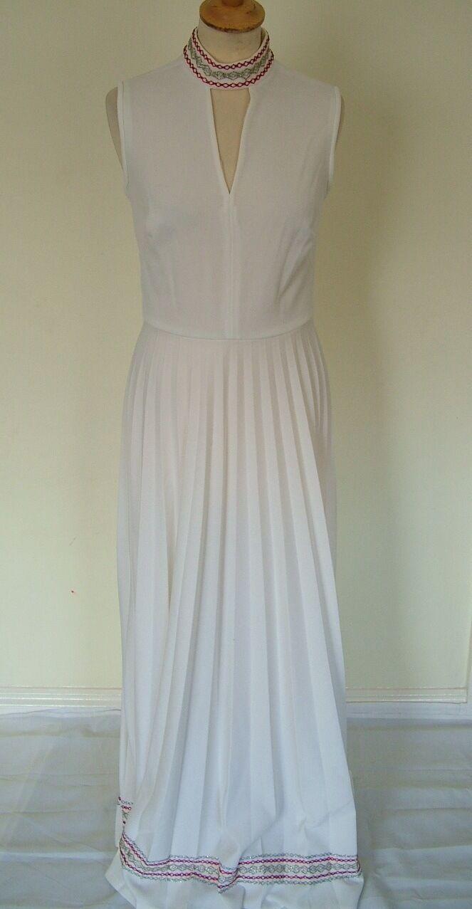Vintage 60s white poly sleeveless maxi long pleated braid edge dress, S M 10 12