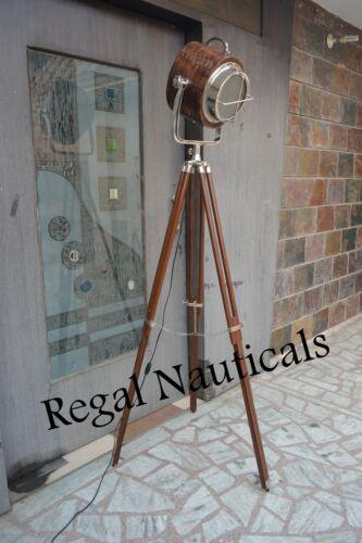 Designer Wood Lamp Nautical Spot Studio Tripod Floor Lamps Tripod Wood Light