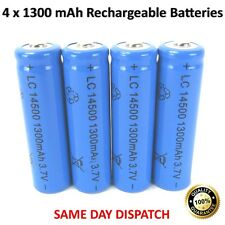 NEW 4 x Rechargeable 1300 mAh Batteries LC 14500 3.7V Powerful Li-Ion Battery UK